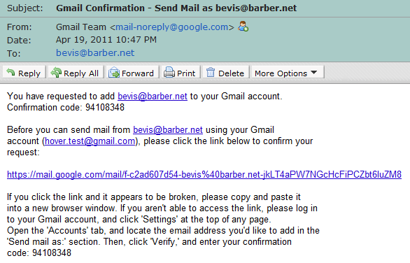gmail confirmation email