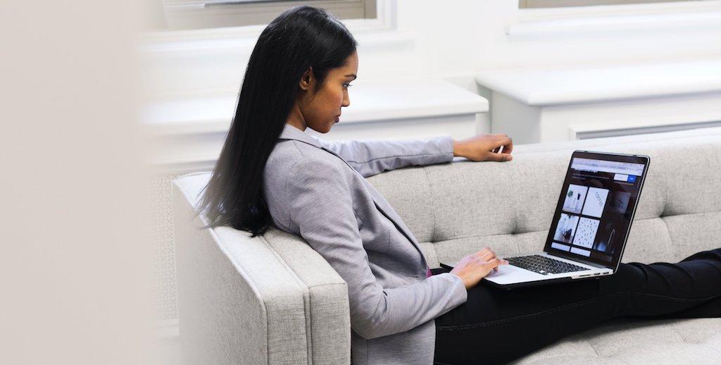 woman building website