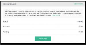 A screenshot of an empty account balance