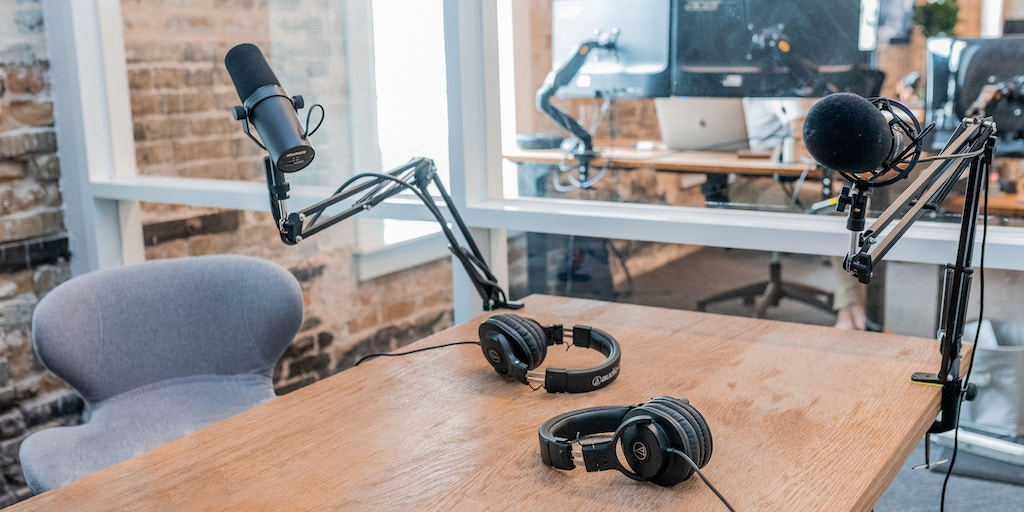 podcasting and domain names - microphones on a desk