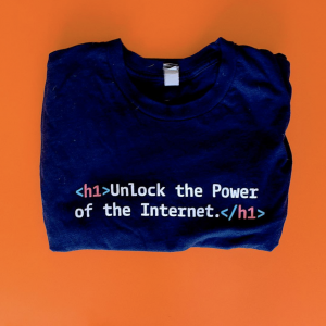 "Shirt says ""unlock the power of the Internet"""
