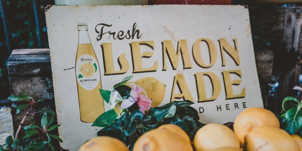 """start summer business - sign reads, """"fresh lemonade sold here"""""""