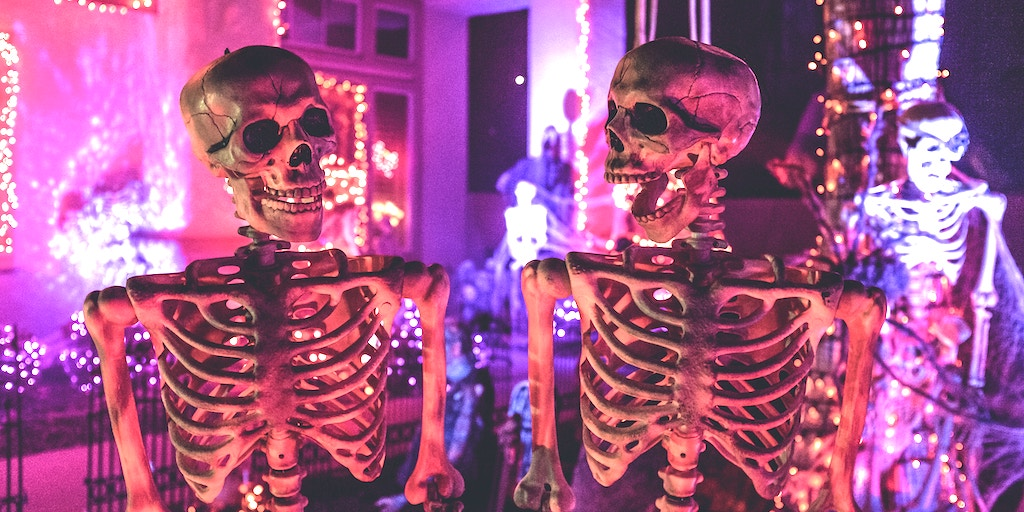 skeletons wishing they were alive so they could get a Halloween-themed domain