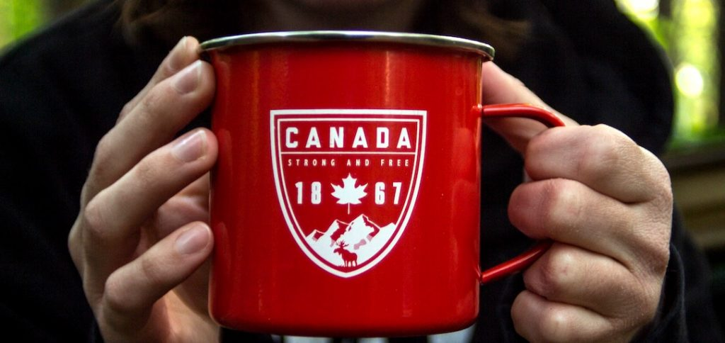 A large, red canada 1867 cup