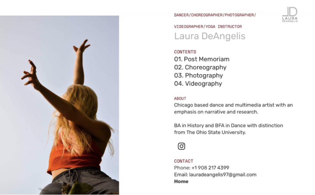 Laura DeAngelis uses her .ART domain as business card, highlighting different creative offerings.