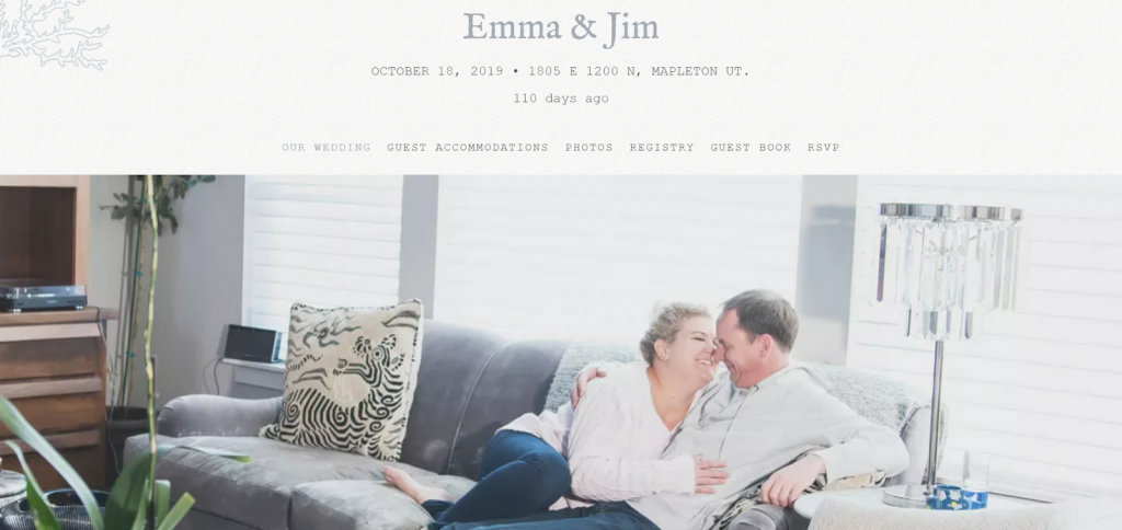 A wedding domain for Emma and Jim.