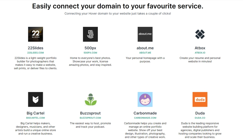 Hover Connect lets you connect your favorite services and your domain name.