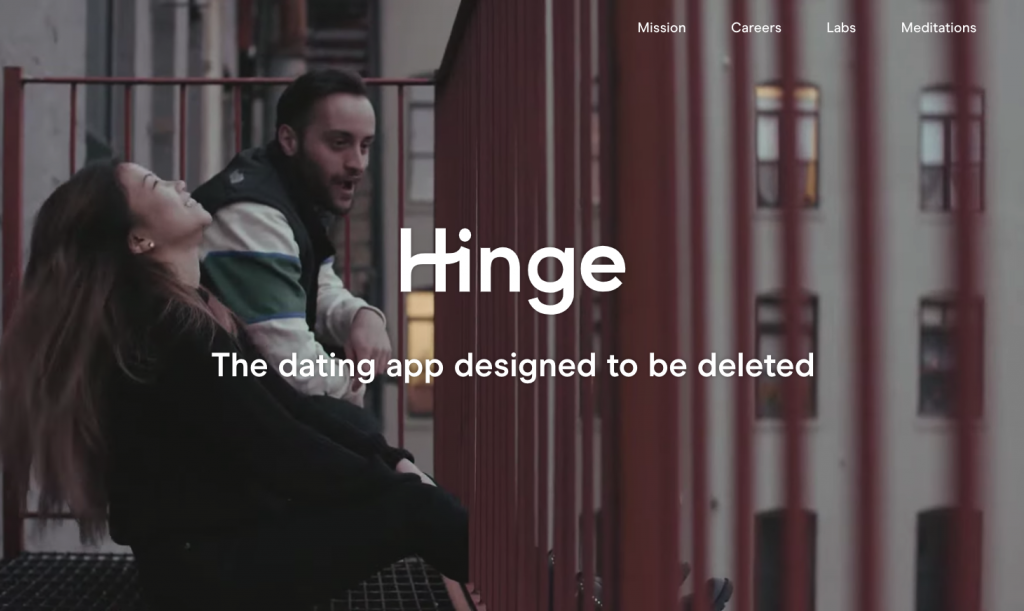Hinge.co is a dating site with a .CO domain rather than a .COM domain.