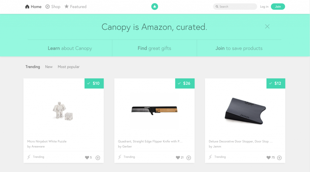 A screenshot of Canopy.co's website, where members curate the best products.