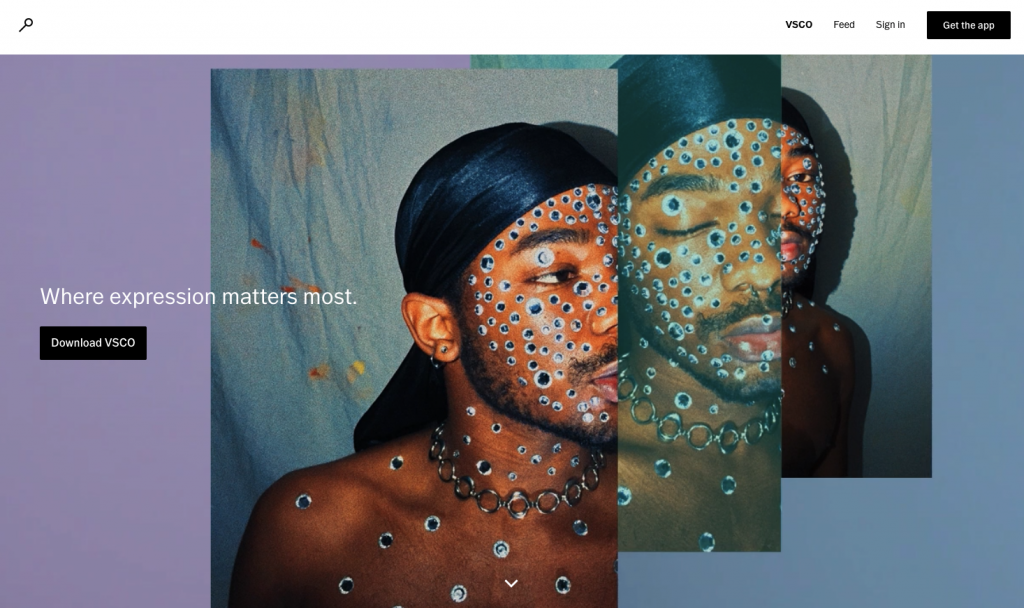 VSCO is an art/tech company. The website shows a young man encrusted with jewels.